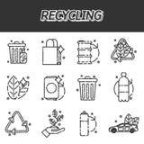 Ανακυκλώνοντας τα επίπεδα εικονίδια καθορισμένα Στοκ Εικόνες
