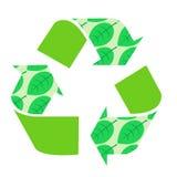 Ανακυκλώστε τα διανυσματικά φυσικά πράσινα φύλλα, εικονίδιο, βέλος Στοκ Εικόνες