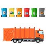 Ανακυκλώστε τα δοχεία αποβλήτων και το φορτηγό απορριμάτων απεικόνιση αποθεμάτων