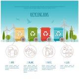 Ανακυκλώστε τα δοχεία infographic Διαχείρηση αποβλήτων και ανακύκλωσης έννοια Επίπεδη διανυσματική απεικόνιση Στοκ εικόνες με δικαίωμα ελεύθερης χρήσης