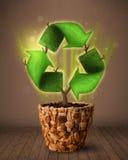 Ανακυκλώστε την ανάπτυξη σημαδιών από flowerpot Στοκ φωτογραφίες με δικαίωμα ελεύθερης χρήσης