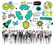 Ανακυκλώστε την επαναχρησιμοποίηση μειώνει τη βιο έννοια περιβάλλοντος Eco φιλική απεικόνιση αποθεμάτων