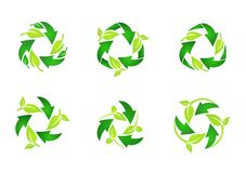 Ανακυκλώστε το λογότυπο, φυσικά πράσινα φύλλα κύκλων που ανακυκλώνουν το σύνολο στρογγυλού διανυσματικού σχεδίου εικονιδίων συμβό Στοκ φωτογραφίες με δικαίωμα ελεύθερης χρήσης