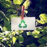 Ανακυκλώστε το σημάδι στη μικρή Λευκή Βίβλο στον κήπο Στοκ εικόνα με δικαίωμα ελεύθερης χρήσης