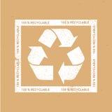 Ανακυκλώστε το σημάδι στο υπόβαθρο του Κραφτ Διανυσματικό shabby σημάδι ανακύκλωσης Στοκ Εικόνες