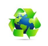 Ανακύκλωσης απεικόνιση συμβόλων σφαιρών παγκόσμιων χαρτών Στοκ φωτογραφία με δικαίωμα ελεύθερης χρήσης