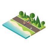 Ανακύκλωση γυναικών και ανδρών στο θερινή την ηλιόλουστη δρόμο ή εθνική οδό επαρχίας Στοκ Εικόνες