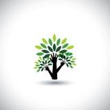 Ανακύκλωση, χέρι δέντρων eco με το διάνυσμα φύλλων Στοκ Φωτογραφία