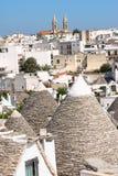 Αναλαμπή Alberobello, Apulia, Ιταλία. Στοκ Φωτογραφίες