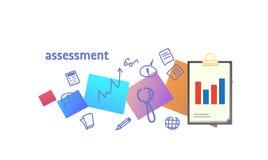 Αναλύστε την έκθεση στοιχείων και συμβουλευθείτε το σκίτσο έννοιας απόδοσης αξιολόγησης αξιολόγησης doodle οριζόντιο ελεύθερη απεικόνιση δικαιώματος