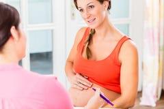 Αναμένουσα μητέρα με το χέρι της στην έγκυο κοιλιά που συμβουλεύεται midw στοκ φωτογραφία με δικαίωμα ελεύθερης χρήσης
