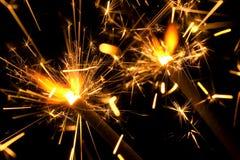 αναμμένα sparklers Στοκ εικόνες με δικαίωμα ελεύθερης χρήσης