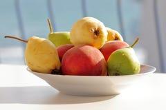 Αναμμένο ήλιος πιάτο των θερινών φρούτων στοκ φωτογραφίες