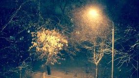 Αναμμένο φανάρι τη νύχτα το χειμώνα χιονοπτώσεις απόθεμα βίντεο
