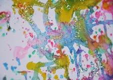 Αναμμένο χρυσό γκρίζο πράσινο μπλε ρόδινο χρώμα watercolor κεριών ζωηρό, ζωηρόχρωμα χρώματα Στοκ εικόνα με δικαίωμα ελεύθερης χρήσης
