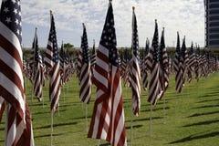 911 αναμνηστικές αμερικανικές σημαίες τομέων θεραπείας Στοκ Φωτογραφία