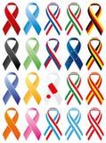 Αναμνηστικές κορδέλλες, που χρωματίζονται και με τις σημαίες Στοκ εικόνες με δικαίωμα ελεύθερης χρήσης