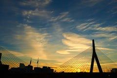 Αναμνηστική γέφυρα Hill αποθηκών Zakim στο ηλιοβασίλεμα Στοκ εικόνα με δικαίωμα ελεύθερης χρήσης
