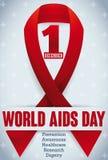 Αναμνηστική κόκκινη κορδέλλα με το διαγώνιο σχέδιο για τη Παγκόσμια Ημέρα κατά του AIDS, διανυσματική απεικόνιση Στοκ Εικόνες