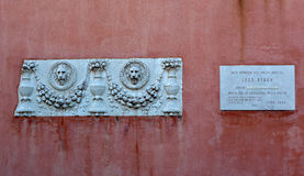 Αναμνηστικός Λόρδος Byron, degli Armeni, Βενετία, Ιταλία SAN Lazzaro Στοκ Εικόνα