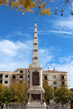 Αναμνηστικός οβελίσκος Plaza de Λα Merced στη Μάλαγα, Ισπανία Στοκ Εικόνα