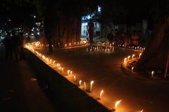 Αναμνηστικός φόρος των κεριών στο σεισμό του Νεπάλ μετά το 2015 Στοκ εικόνες με δικαίωμα ελεύθερης χρήσης