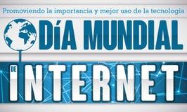 Αναμνηστικό σχέδιο με τη σφαίρα και συνδέσεις για την ισπανική ημέρα Διαδικτύου, διανυσματική απεικόνιση Στοκ Φωτογραφίες