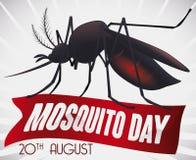 Αναμνηστικό σχέδιο με το κουνούπι πέρα από την κορδέλλα για την ημέρα παγκόσμιων κουνουπιών, διανυσματική απεικόνιση Στοκ εικόνα με δικαίωμα ελεύθερης χρήσης