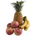 Ανανάς μπανανών της Apple που απομονώνεται στο λευκό Στοκ Φωτογραφία