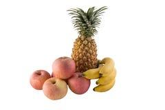 Ανανάς μπανανών της Apple που απομονώνεται στο λευκό Στοκ Εικόνες