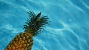 Ανανάς που επιπλέει στο μπλε νερό στην πισίνα Υγιής ακατέργαστη οργανική τροφή καρπός juicy εξωτικός τροπικός ανασκόπ φιλμ μικρού μήκους