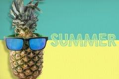 Ανανάς που φορά τα γυαλιά ηλίου στο θερινό υπόβαθρο στοκ φωτογραφία με δικαίωμα ελεύθερης χρήσης