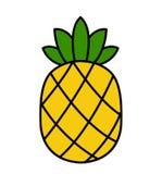 Ανανά διανυσματικός κίτρινος ανανάς φρούτων εικονιδίων τροπικός τα πράσινα φύλλα που απομονώνονται με ελεύθερη απεικόνιση δικαιώματος