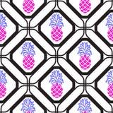Ανανάδες στο γεωμετρικό άνευ ραφής σχέδιο κεραμιδιών rhombuses Στοκ Εικόνες