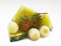 Ανανάδες φρούτων μιγμάτων, rambutan Στοκ φωτογραφία με δικαίωμα ελεύθερης χρήσης