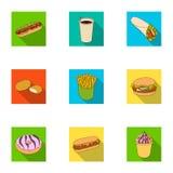 Ανανεώσεις, πρόχειρα φαγητά, γρήγορες, και άλλο εικονίδιο Ιστού στο επίπεδο ύφος Καυτός, σκυλί, κουλούρι, εικονίδια στην καθορισμ απεικόνιση αποθεμάτων
