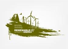 Ανανεώσιμη ενέργεια ανεμοστροβίλων Grunge Στοκ Φωτογραφίες