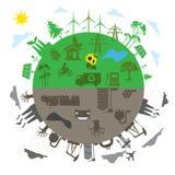 Ανανεώσιμη ενέργεια εναντίον της παραδοσιακής ενεργειακής έννοιας στο επίπεδο σχέδιο, app, έμβλημα Στοκ Φωτογραφία