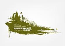 Ανανεώσιμη ενέργεια ηλιακών πλαισίων Grunge Στοκ φωτογραφίες με δικαίωμα ελεύθερης χρήσης