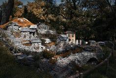 Αναπαραγωγή του χωριού από τη Λιγουρία Apennines - της Λιγυρίας - της Ιταλίας Στοκ Φωτογραφία