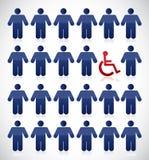 Αναπηρία στη μέση ενός συνόλου ανθρώπων ελεύθερη απεικόνιση δικαιώματος