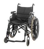 Αναπηρική καρέκλα που απομονώνεται στο άσπρο υπόβαθρο με το ψαλίδισμα της πορείας στοκ εικόνες
