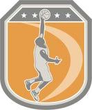 Αναπηδώντας ασπίδα σφαιρών παίχτης μπάσκετ αναδρομική διανυσματική απεικόνιση