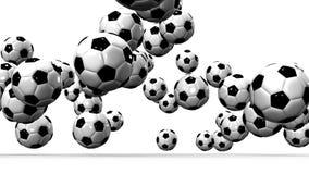 Αναπηδώντας σφαίρες ποδοσφαίρου στο άσπρο υπόβαθρο απεικόνιση αποθεμάτων