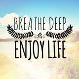 Αναπνεύστε βαθιά απολαμβάνει τη ζωή Στοκ εικόνα με δικαίωμα ελεύθερης χρήσης