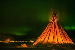 Αναπνοή της σκηνής ερυθρόδερμων Kvaloya Νορβηγία Στοκ Εικόνα