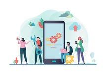 Αναπροσαρμογές συστημάτων με τους ανθρώπους που ενημερώνουν τη λειτουργία στα προγράμματα υπολογισμού και εγκαταστάσεων κινητή εφ διανυσματική απεικόνιση