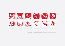Αναπροσαρμογή εικονιδίων coll#01 υπαίθριου & αθλητισμού περιπέτειας Στοκ εικόνα με δικαίωμα ελεύθερης χρήσης