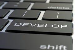 ΑΝΑΠΤΥΞΤΕ το κλειδί στο πληκτρολόγιο υπολογιστών τρισδιάστατη απόδοση διανυσματική απεικόνιση