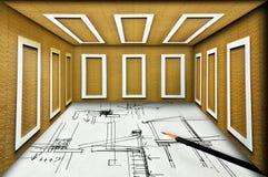 Αναπτύξτε το σχέδιο κατασκευής για την πραγματική κατασκευή Στοκ Εικόνα